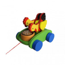 """Детская игрушка каталка """"Клюющие курочки"""""""